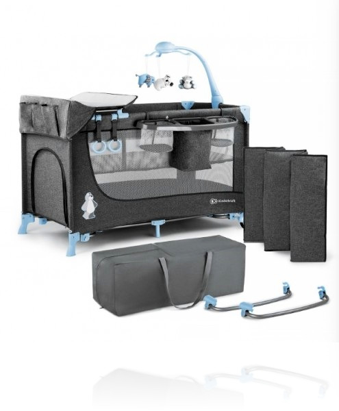 Ліжечко - манеж Kinderkraft JOY (з аксесуарами) колір Blue