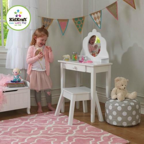 Белый деревянный туалетный столик с сиденьем Kidkraft 13009