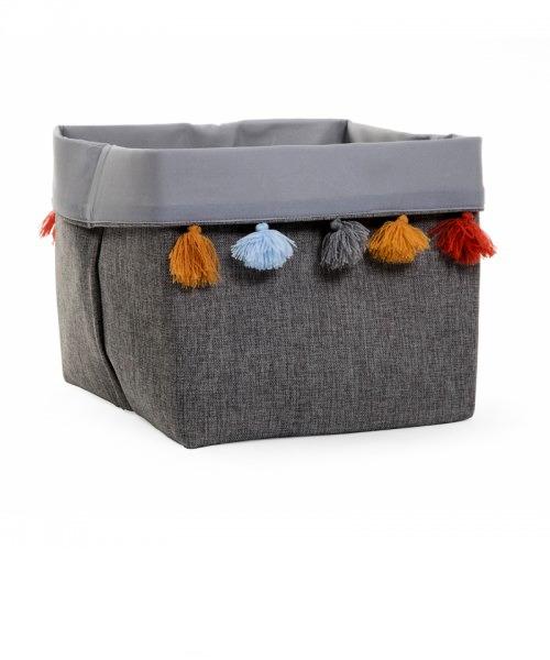 Ящик для игрушек Childhome CANVAS BOX 32x32x29 цвет DARK GREY+POMPONS