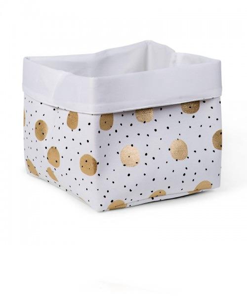 Ящик для игрушек Childhome CANVAS BOX 32x32x29 цвет WHITE GOLD DOTS
