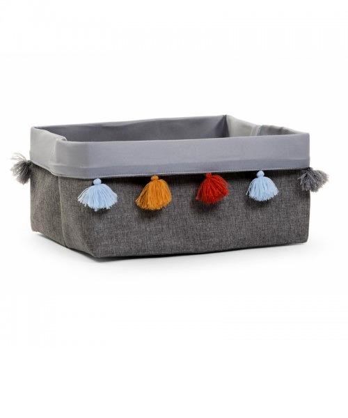 Ящик для игрушек Childhome CANVAS BOX 40X30X20 цвет DARK GREY+POMPONS