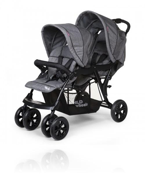 Прогулочная коляска для двоини ChildHome Tandem цвет Canvas Grey